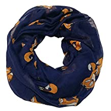 Trelemek Women's Cute Soft Lightweight Fox Printed Infinity Scarf