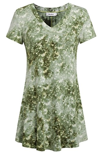 (Sixother Women's V Neck Casual Shirts for Holiday, Loose Fit Summer Tunic Tops for Leggings Soft Comfy Office Blouse for Female Green XL)