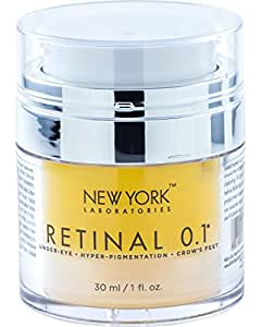 Eye Cream with Retinal 0.1 from New York Laboratories, Maximum Strength Anti Aging Eye Cream, Reduces the Appearances of Wrinkles, Fine Lines, Hyperpigmentation & Crows Feet, 1 oz