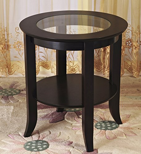 Frenchi Furniture-Wood Genoa End Table, Round Side /Accent Table , Inset Glass Espresso ()