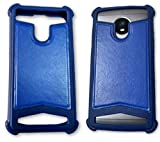 BKDT Marketing Rubber and Leather Soft Back Cover for MICROMAX Bolt S302- Blue