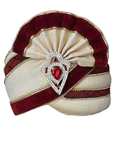 INMONARCH Mens Wedding Safa pagari safa Groom hats TU1060 22-inch Cream-Maroon by INMONARCH