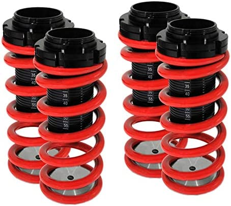 Fit 2000-2005 Mitsubishi Eclipse Adjustable Black Scale Dual Lock Coilover Lowering Springs Red