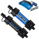 hiking water filter straw Sawyer Products SP2105 Mini Water Filtration SYSTEM, 2 Pack, Blue & black