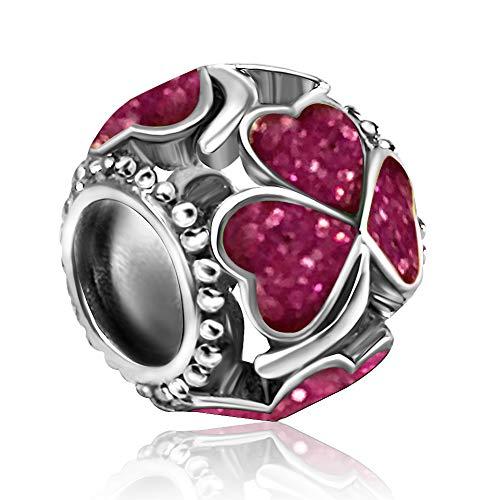 JMQJewelry Heart Love Clover Charms Pink Beads Bracelets Mom Wife Sister ()