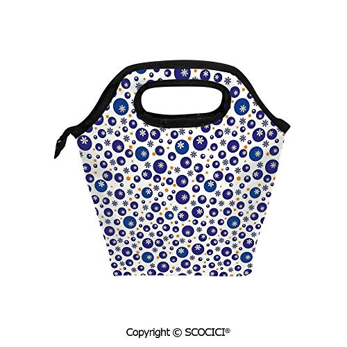 Lightweight Portable Picnic tote lunch Bags Blue and Orange Polka Dots with Little Spring Flowers Chamomiles and Daisies lunch bag for Employee student Worker.