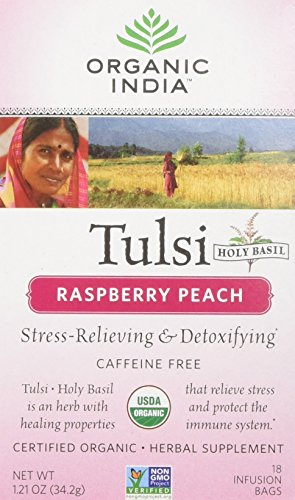 Original Tulsi Tea - Organic India USA - Tulsi Raspberry Peach Tea, 18 Bags