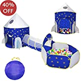 LOJETON 3pc Rocket Ship Kids Play Tent, Tunnel & Ball Pit with Basketball Hoop for Boys, Girls and Toddlers - Indoor/Outdoor Use Pop Up Rocket Tent