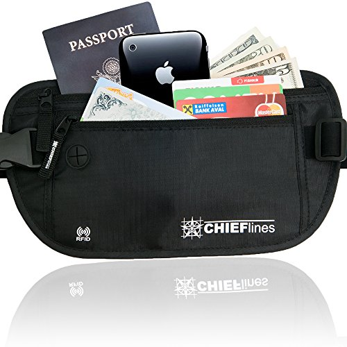 Money Belt-RFID Blocking-Undercover Hidden-Waist stash-For Travelling - Belt Embossed Modern