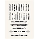 Inked and Screened Sci-Fi and Fantasy ''Star Wars Armory: Lightsabers'' Print, True White - Black Ink