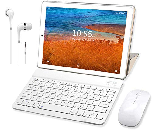 🥇 Tablet 10 Pulgadas Buenas 4G RAM 3GB 32GB ROM Android 9.0 Pie Tableta con Teclado y Mouse Quad-Core Dual SIM WiFi Buenas Tabletas de función de Llamada 4G GPS 8500mAh