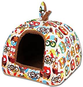 Pet Supplies Dog House Soft Mongolian Yurt Cat Rabbit Bed House Kennel Doggy Warm Cushion Basket for Puppy Home - Owl(M)