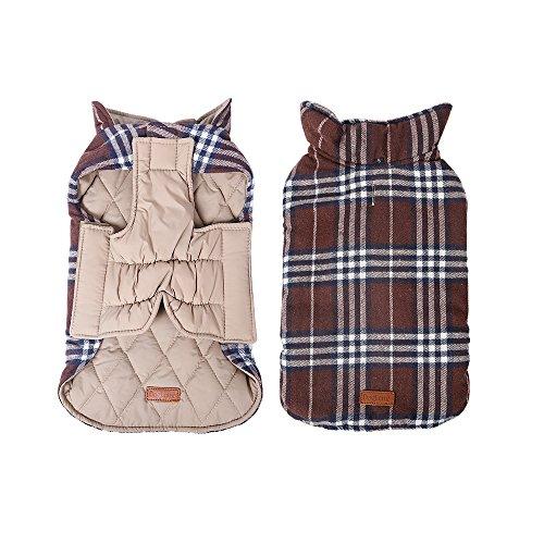 (Vstart Pet Dog Jacket Vest Windproof Winter Garment Waterproof Clothing Waistcoat Winter Warm Clothes Reversible Design Apparel Grid Plaid Dog Coat Small Medium Large Dogs Collar)