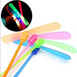 Qiyun 100 Pcs LED Light-up Bamboo-copter Plastic Dragonfly Toy Gift for Children Random Color