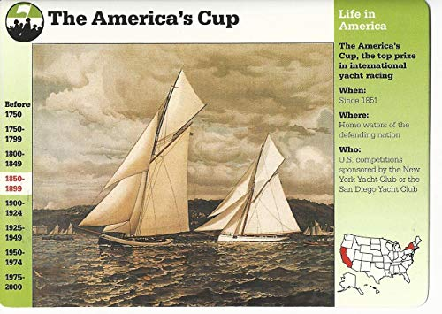 1995 Grolier, Story Of America Card, 19.11 America's Cup, Yachting