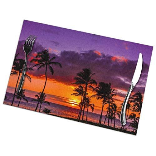OneDay-Shop Manteles Individuales de Cocina Manteles para la Mesa de Cocina de Hotel (6 Piezas, Newport Beach Sunset Coconut Tree Rojo Purpura Manteles Individual