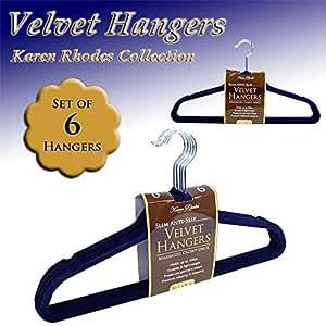 KAREN RHODES COLLECTION - (6) VELVET HANGERS - NAVY