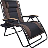 LUCKYBERRY Deluxe Oversized Padded Zero Gravity Chair XL Black Brown Cup Holder Lounge Patio Chairs Outdoor Yard Beach Suppor
