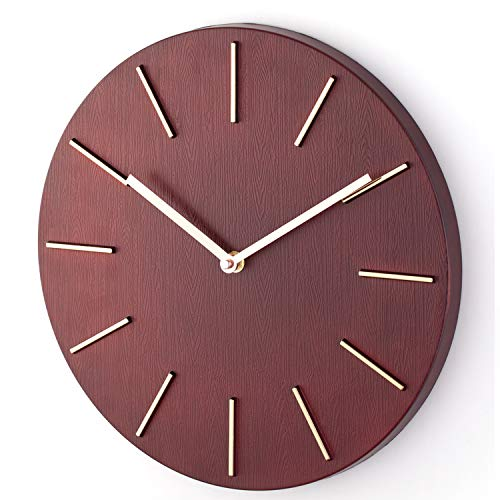 Bloom Flower 14 Inch Living Room Modern Decorative Wall Clock - Silent & Non-Ticking - - Living Room Burgundy