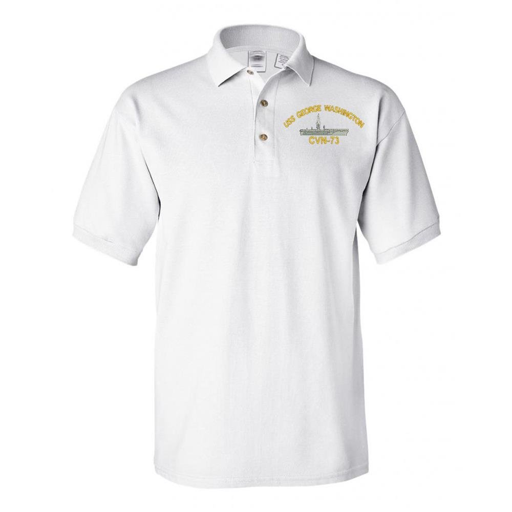 Military USS GEORGE WASHINGTON CVN-73 BATTLESHIP Polo Shirt White