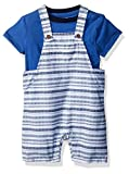 Gymboree Toddler Boys' Short Sleeve Striped Overall Set, Gym Navy Stripe, 18-24 Mo