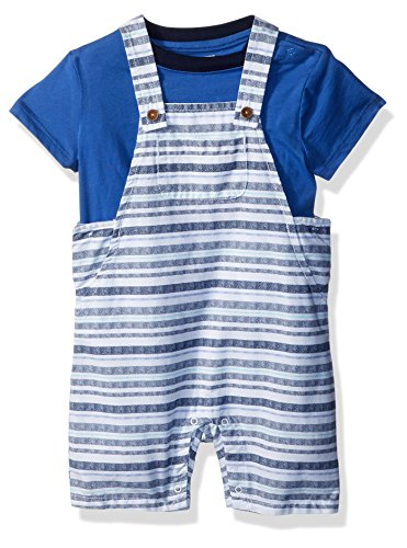 Gymboree Boys' Toddler' Short Sleeve Striped Overall Set, Gym Navy, 12-18 mo