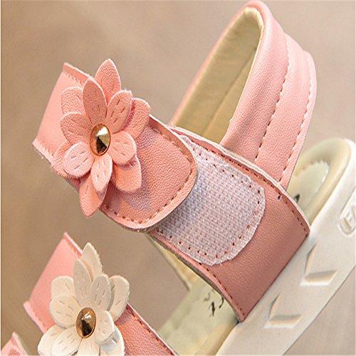 ZGSX 2017 nuevos zapatos de gran virgen sandalias de las muchachas del niño sandalias de velcro de primavera y verano de los niños Rosado