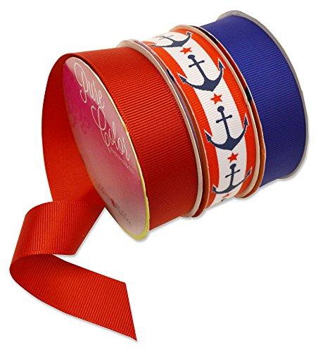 Morex Ribbon Nautical America Polyester Ribbon (Pack of 3), 7/8