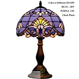 Baroque Tiffany Style Table Reading Lamp Light 18 inch Tall Differnt Color ON/OFF (BLUE/PURPLE)