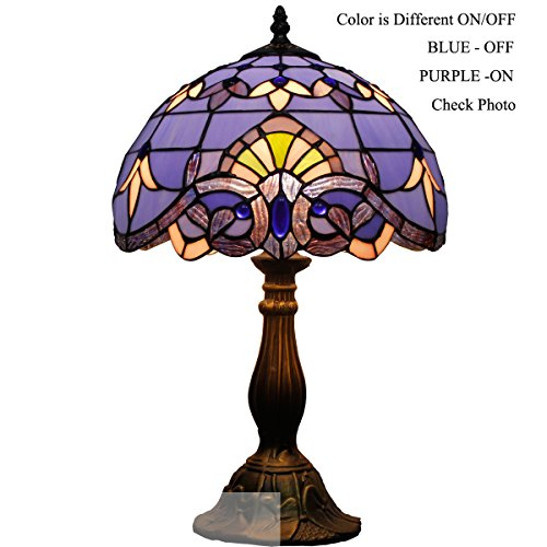Baroque Tiffany Style Table Reading Lamp Light 18 inch Tall Differnt Color ON/OFF (Baroque Stained Glass Table Lamp)