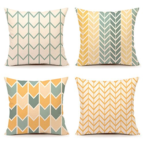 Yellow Accent Throw Pillow Cover Chevron Simple Geometric Ho