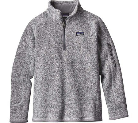 Patagonia Girls' Better Sweater Fleece Quarter Zip (M, Birch White) by Patagonia