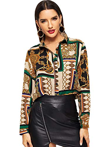 Milumia Women Chain Print Long Sleeves Button Down Business Office Blouses Tops