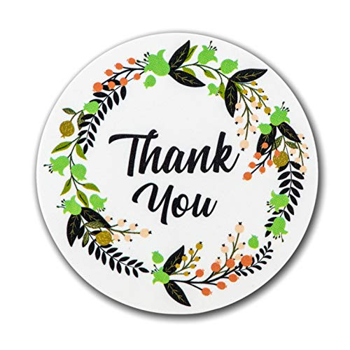 Ivy Paper Co Modern Floral Thank You Stickers | Roll of 1000 | 1.5'' Flower Envelope Sealers | Beautiful Circle Labels for Business, Gifts, Bridal, Thank You Cards Notes | Boho Gift Tags |Cute Stickers by Ivy Paper Co (Image #2)