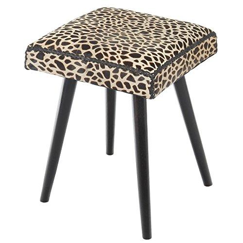 Safari Cow Hide & Mahogany Vanity Stool, Leopard Print (Stool Animal Safari)
