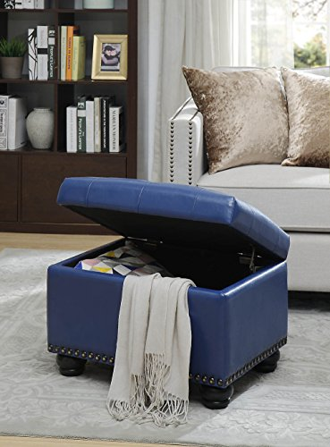 Convenience Concepts 163010BE Designs4Comfort 5th Avenue Storage Ottoman Blue PU