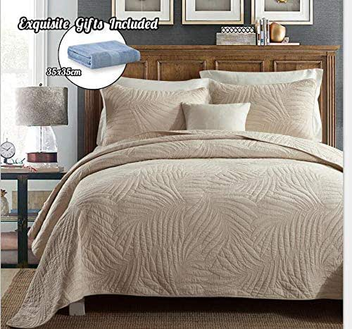 Cotton World Li Quilt Set King Premium 3 Piece Oversized Bedspread Set Reversible Elegant Embroidery Bed Cover Luxury Coverlet Lightweight - Wrinkle & Fade Resistant-King/California King