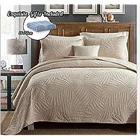 Cotton World Li Quilt Set King/Queen Premium 3 Piece Oversized Bedspread Set Reversible Elegant Embroidery Bed Cover Luxury Coverlet Lightweight