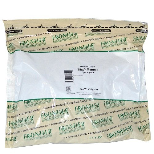 Frontier Natural Products Co-Op Organic Medium Grind Black Pepper 16 oz (453 grams) Pkg