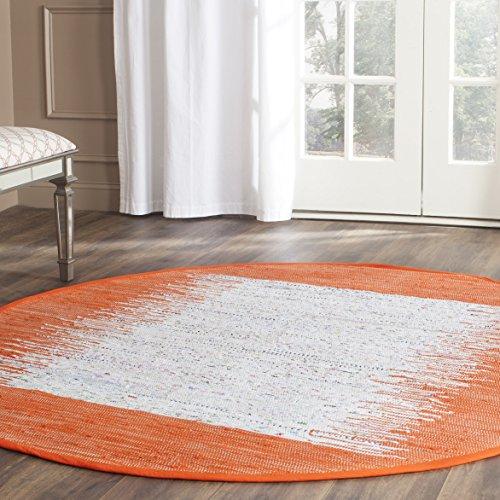 Safavieh Montauk Collection MTK711C Handmade Flatweave Ivory and Orange Cotton Round Area Rug (6' - Round Orange