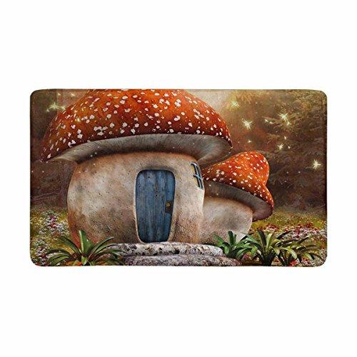 InterestPrint Fantasy Mushroom Cottage with Dragonfly on Colorful Meadow Doormat Indoor Outdoor Entrance Rug Floor Mats Shoe Scraper Door Mat Non-Slip Home Decor, Rubber Backing Large 30