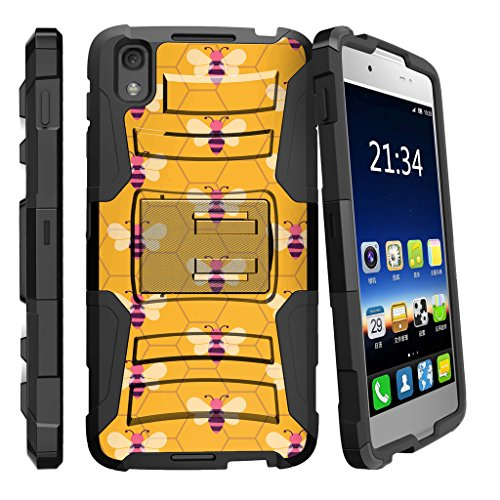 MINITURTLE Compatible with Alcatel Idol 4 / Nitro 49 [Clip Armor] Shock Resistant Hybrid Case w/Kickstand + Bonus Holster Belt Clip - Honeycomb Bees