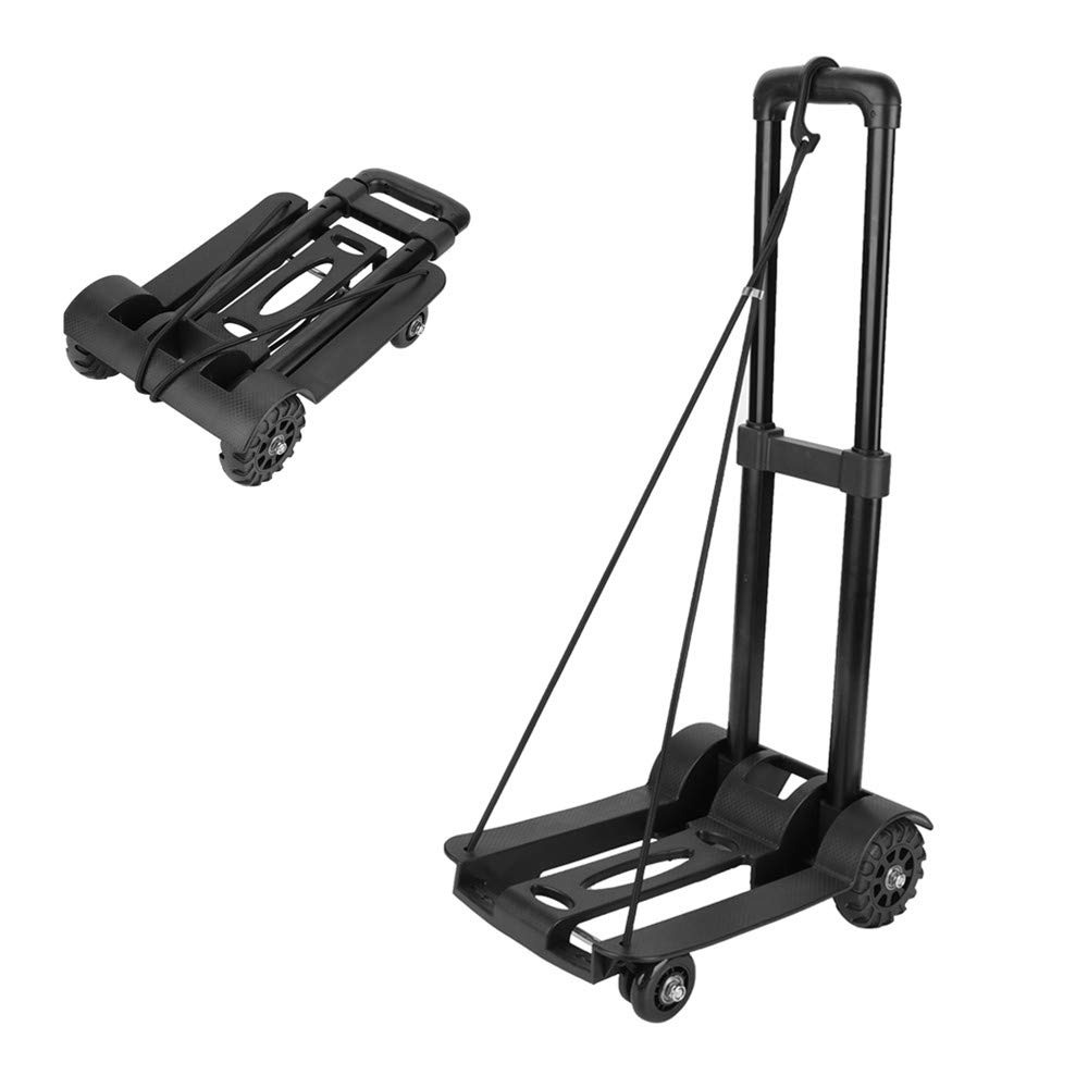 Carretilla de mano, 4 Ruedas Carretilla plegable Transporte Plegable Carretilla De Transporte Multifuncional Carrito con Mango Extensible, 75kg / 165lbs de Capacidad, Color Negro Cocoarm