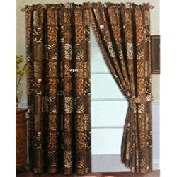 4 Piece Curtain Set: 2 Jungle Safari Brown Giraffe Zebra Panels & 2 Tie Backs