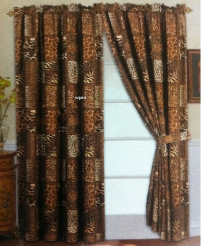 4 Piece Curtain Set: 2 Jungle Safari Brown Giraffe Zebra Panels & 2 Tie Backs ()