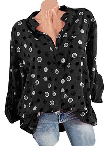 Fashion Shirts Blouses Femme et Tops Casual Noir Fr Lache Printemps Automne Longues V Col Pois Chemisiers ulein T Manches Fox xwt7qYT