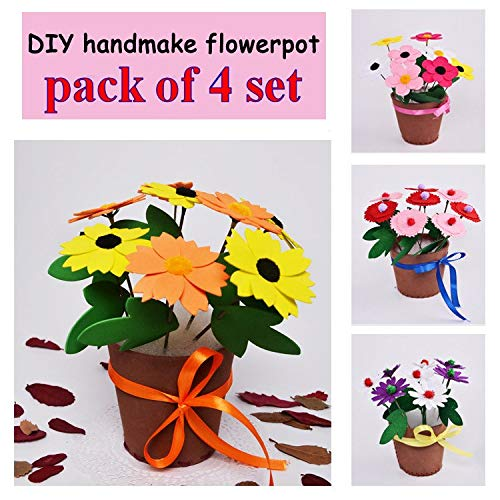 Complet 4 Set Large 3D EVA Handmade Flower Pot Decor Kids Child Learning Puzzle Assembled DIY Creative Educational Craft Toy Kit]()