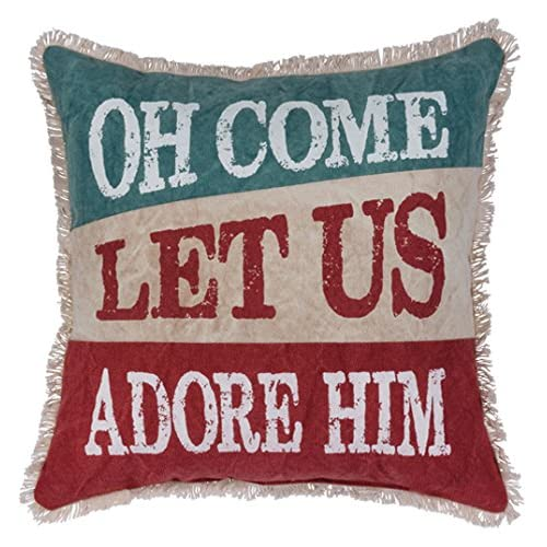 Primitives by Kathy Decorative Let Us Adore Him Holiday Throw Pillow 15-Inch Square