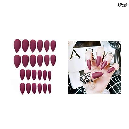 24 piezas de uñas postizas mate con cubierta completa para manicura, puntas de uñas puntiagudas