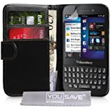 Blackberry Q5 Case Black PU Leather Wallet Cover